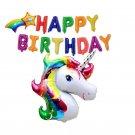 "Unicorn Balloon With ""Happy Birthday"" Letter Foil Balloons Birthday Party Decora"