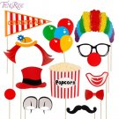 FENGRISE Photo Booth Props Clown Nose Hat Popcorn balloon Funny Mustache Photobo