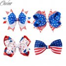 "10Pcs/lot 2.5""4""4.5"" 4th Of July Hair Bow With Clip For Girl Navy Red White Hair"