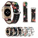 British Rural Style Floral Leather Wrist Strap for Apple Watch Band Flower