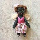 Tiny Doll With Fairy Wings, Miniature Black Fairy Doll, Ooak Doll, Fairy Little Black Girl