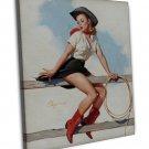 Vintage Gil Elvgren Pinup Girl Wall Decor 20x16 Framed Canvas Print