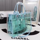 Chanel Blue Sherbert Ice Cream Purse Transparent Sheepskin material authentic