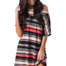 Red Black Multi-striped Casual Shirt Dress
