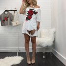 Flower Embroidered Hollow-out White T-shirt
