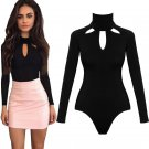 Cut-Out High Neck Black Bodysuit