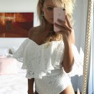 Pure White Floral Mesh Ruffle Off the Shoulder Bodysuit
