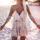 Gold Sequins Off Shoulder Party Romper with Flare Sleeve