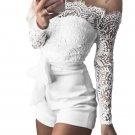 White Eyelash Lace Off Shoulder Sash Belt Playsuit