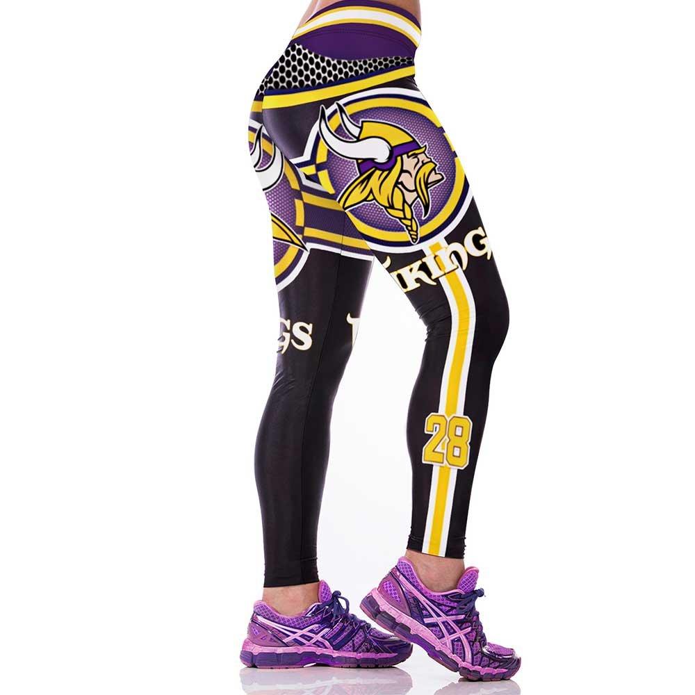 Minnesota Vikings #28 NFL Football Sports Leggings Womens