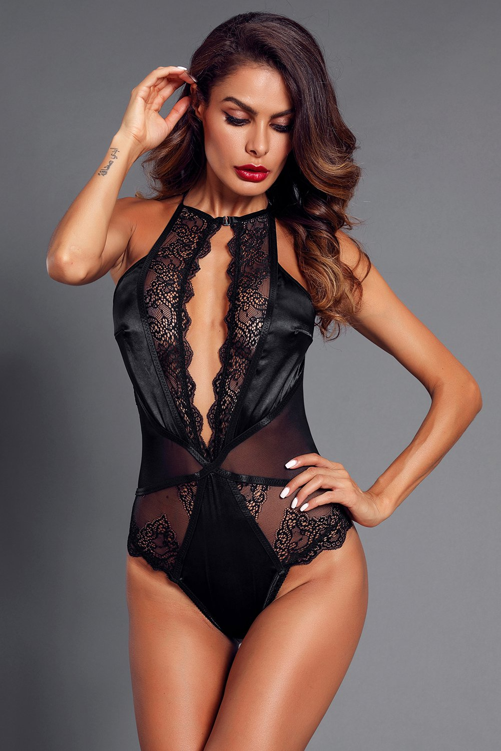 Black Lace Satin High Neck Women's Fashion Bodysuit