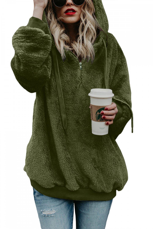 Green Warm Furry Pullover Women's Hoodie