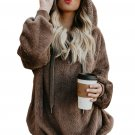 Brown Warm Furry Pullover Women's Hoodie