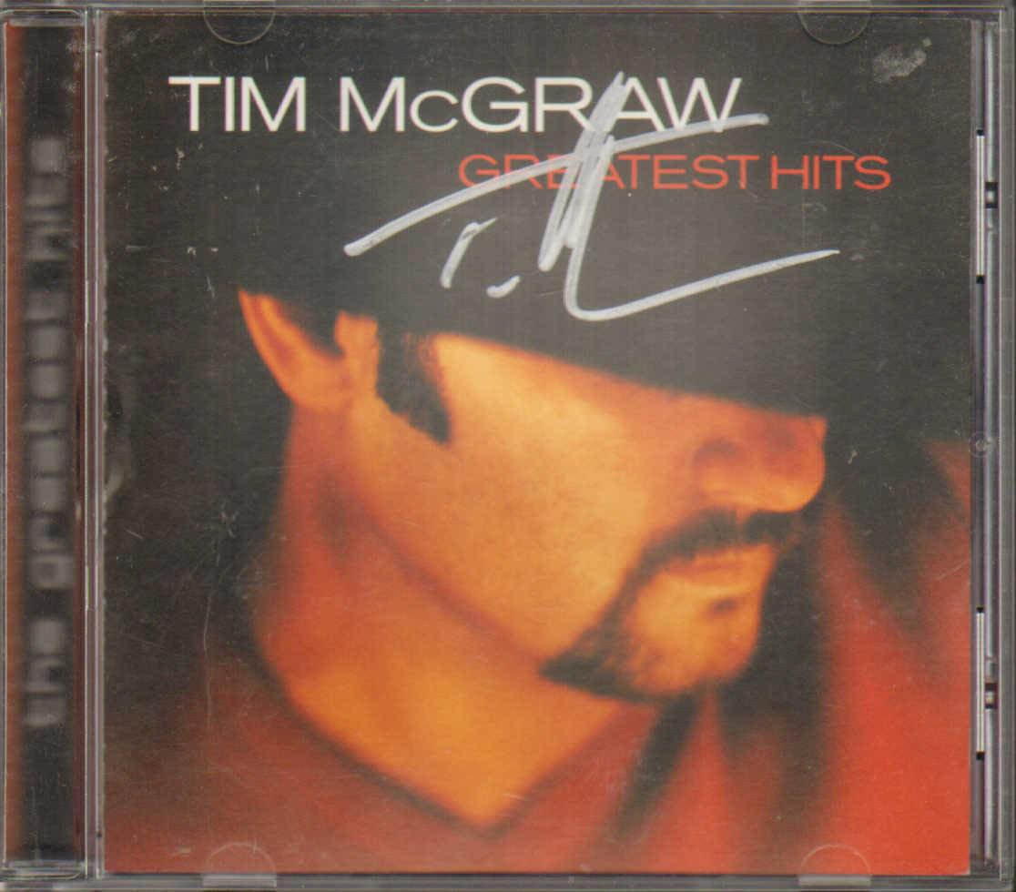 Tim Mcgraw Autographed Signed Greatest Hits Cd Cover Aftal