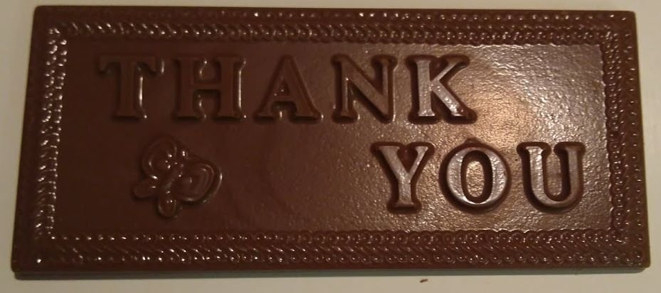 Solid Chocolate Greeting Card - THANK YOU - 4 ea.