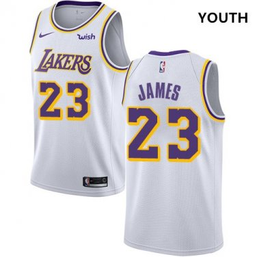 outlet store fc696 69a24 Nike Lakers #23 LeBron James White Youth NBA Swingman ...