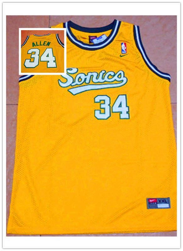 best service 6733a 27455 Men's OKC Thunder #34 Ray Allen Yellow Throwback Stitched Jersey