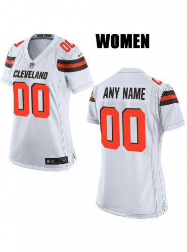 Women S Cleveland Browns Customized White Jersey