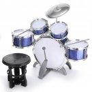 Kids Jazz Drum Set Kit Musical Educational Instrument 5 Drums 1Cymbal with Stool Drum Sticks Percuss
