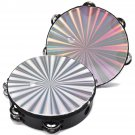 8 Inches Hand Held Tambourine Round Percussion Double Row Orff Instrument for Band Dancing Singing A