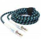 Zebra 3m Guitar Cable Cord for Guitar Mixer Amplifier Blue-Black