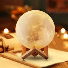 Decorative Full Moon Lamp - 3D Moon Desk Lamp with Touch and Remote Control Functions