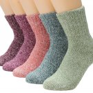 Womens Athletic Winter Wool Thick Warm Soft Casual Socks Printed Knit Crew Socks