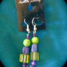 Purple and Green Bead Earrings