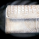 White Faux Crocodile Wallet