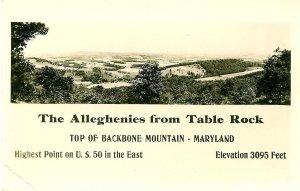 Alleghenies from Table Rock, Maryland, Kodak Photo Post Card