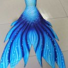 2018 Blue Fabric Mermaid Tail for Swimming with Monofin for Teen Girls Kids