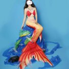 New Red Mermaid Tail for Swimming with Monofin for Kids Teen Girls