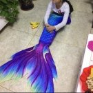 Kids Swimmable Mermaid Tail with Monofin Blue Cute Gift for Girls