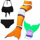 Clowfish Mermaid Tail for Swimming for Kids, Mermaid Christmas Party Costume
