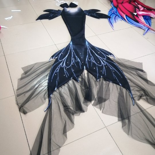 NEW Black Fairy Mermaid Tail for Swimming with Monofin