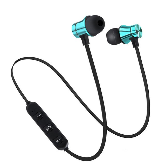 Wireless Magnetic Bluetooth Stereo Earphone Sport Headset for iPhone Samsung Xiaomi Huawei-blue