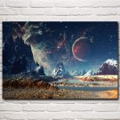 Stars Planet Space Mountains Artwork Art Silk Poster Prints Home Decor Pictures 24x36 Inch