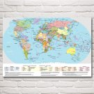 World Map National Geographic Art Silk Fabric Poster Prints Wall Home Decor Pictures 24x36 Inch