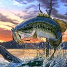 Bass Fishing Lake Sunset Fabric Silk Posters And Prints Home Decor Wall Art 24x36 Inches