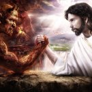 Jesus VS the Devil Motivational Fabric Silk Posters And Prints Home Decor Art 24x36Inch