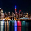 New York City View Night Fabric Silk Posters And Prints Home Wall Art 24x36 Inch