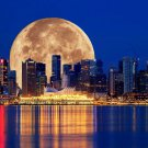 Vancouver Skyscrapers Moon Night Fabric Silk Posters And Prints Home Wall Art 24x36 Inch