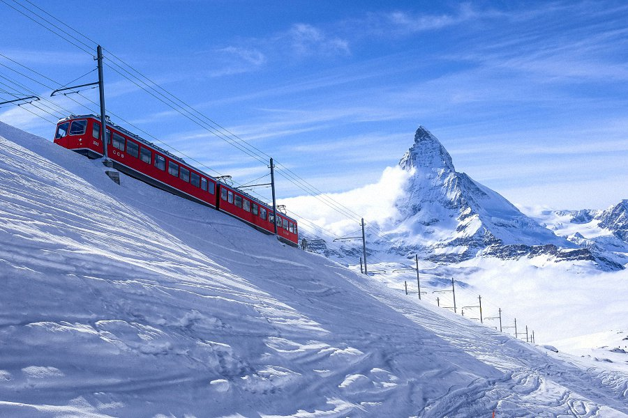 Switzerland Alps Mountain Snow Train Fabric Silk Posters And Prints Home Wall Art 24x36 Inch