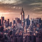 New York Buildings Skyscrapers Fabric Silk Posters And Prints Home Wall Art 24x36 Inch