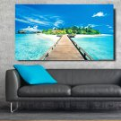 1 Panel HD Printed Bridge And Blue Sea Posters Pictures Wall Art Canvas Painting-With Framed