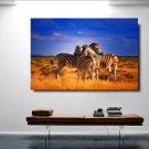 1 Panel HD Printed Zebras Sunset Landscape Posters Pictures Wall Art Canvas Painting-With Framed