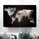 1 Panel HD Printed Black World Map Money Posters Pictures Wall Art Canvas Painting-With Framed