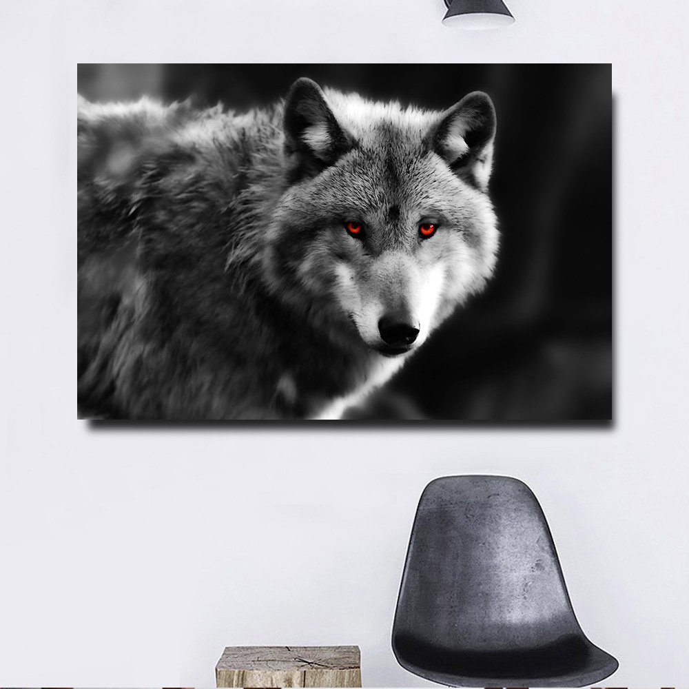1 Panel HD Printed Red Eyes Wolf Posters Pictures Wall Art Canvas Painting-With Framed