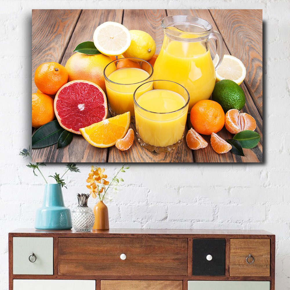 1 Panel HD Printed Orange And Fruit Juice Posters Pictures Wall Art Canvas Painting-With Framed