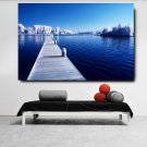 1 Panel HD Printed Snow Tree And Lake Posters Pictures Wall Art Canvas Painting-With Framed